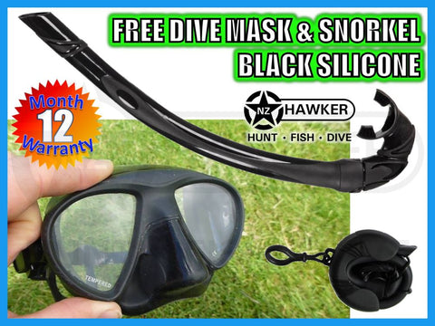 DIVE MASK & SNORKEL SET BLACK SILICONE - NEW #01