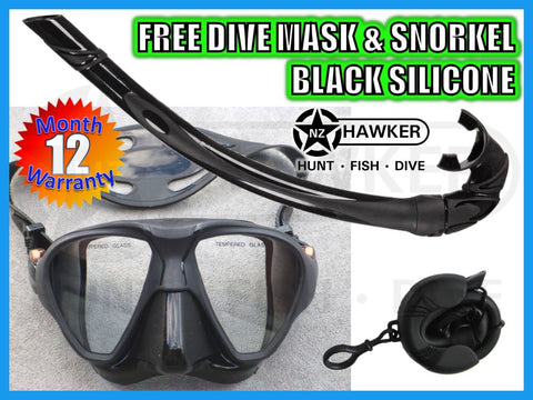 DIVE MASK & SNORKEL SET BLACK SILICONE - NEW #04
