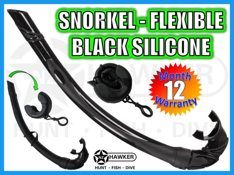 SNORKEL - FLEXIBLE - FREE DIVE - BLACK SILICONE #01