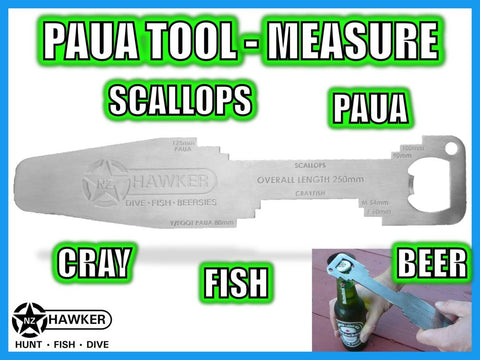 PAUA TOOL / MEASURE +CRAY +SCALLOP +FISH +BOTTLE OPENER! #01