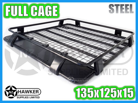 ROOF RACK CAGE TRAY 135cm x 125cm STEEL incl 15cm UNIVERSAL GUTTER MOUNTS! #01