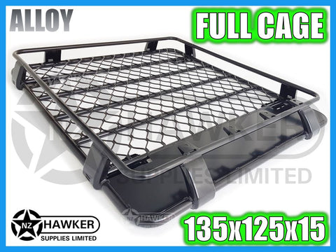 ROOF RACK CAGE TRAY 135cm x 125cm ALLOY incl 15cm UNIVERSAL GUTTER MOUNTS! #04