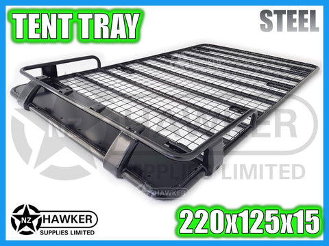 ROOF RACK TENT TRAY 220cm x 125cm STEEL incl 15cm UNIVERSAL GUTTER MOUNTS! #07