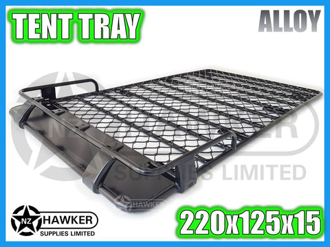 ROOF RACK TENT TRAY 220cm x 125cm ALLOY incl 15cm UNIVERSAL GUTTER MOUNTS! #08