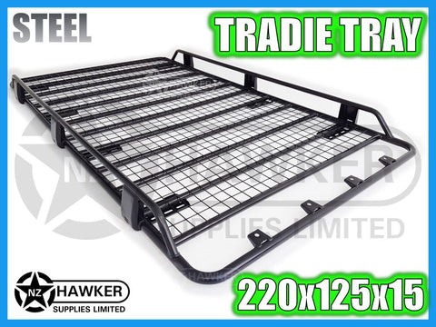 ROOF RACK TRADIE TRAY 220cm x 125cm STEEL incl 15cm UNIVERSAL GUTTER MOUNTS! #11
