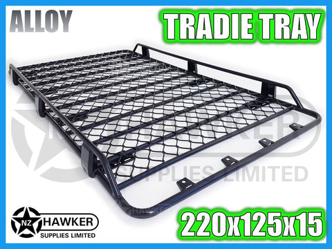 ROOF RACK TRADIE TRAY 220cm x 125cm ALLOY incl 15cm UNIVERSAL GUTTER MOUNTS! #13