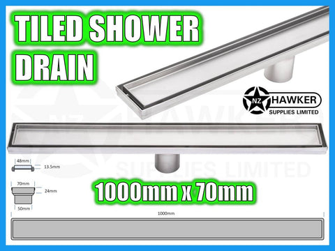 TILE INSERT SHOWER CHANNEL DRAIN 1000mm X 70mm! #05