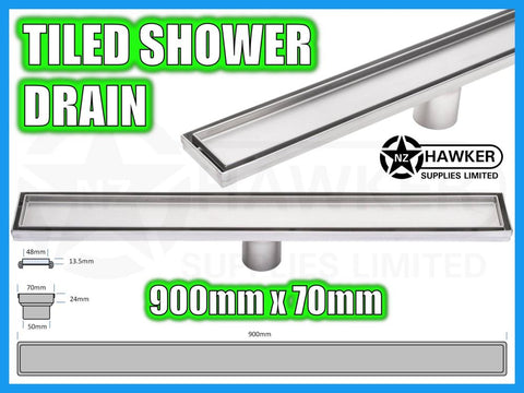 TILE INSERT SHOWER CHANNEL DRAIN 900mm X 70mm! #04