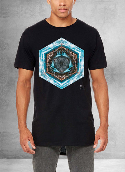 Blue River Flow Mandala Long T-Shirt