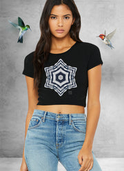 Cold Silver Heart Mandala Crop Top