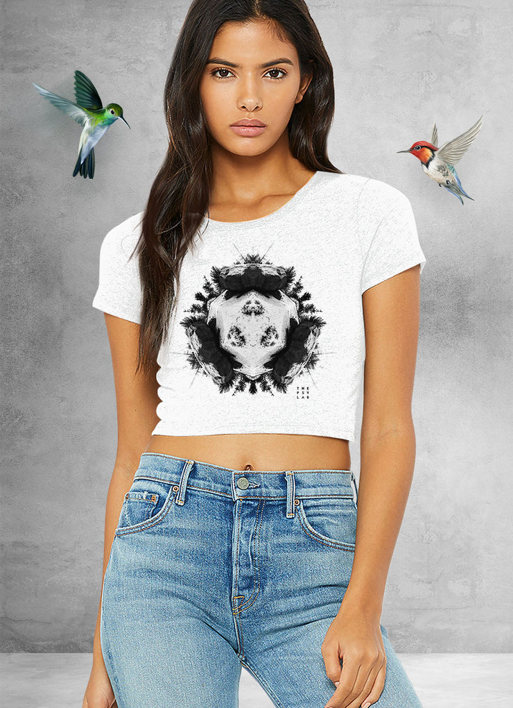 Grey Powder Rock Planet Crop Top