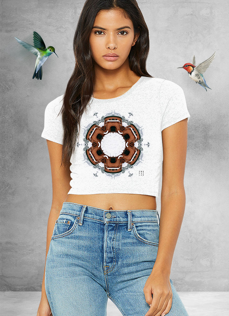 Snow Galaxy Gate Mandala Crop Top