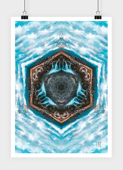 Blue River Flow Mandala Poster