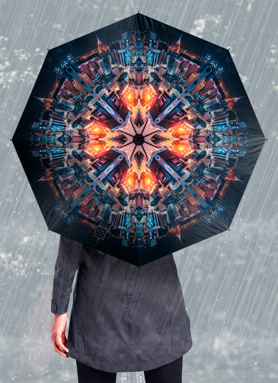 Cyber Angel Psychedelic Mandala Umbrella