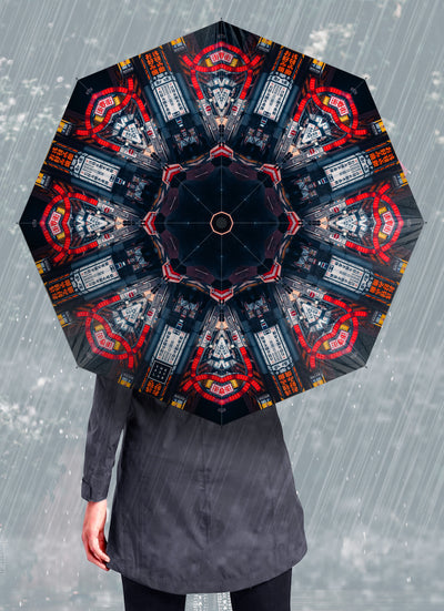 Red Arch Psychedelic Mandala Umbrella