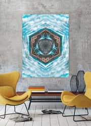 Blue River Flow Mandala Tapestry