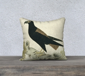 Blue and Black Bird Double Sided Pillowcase 18x18