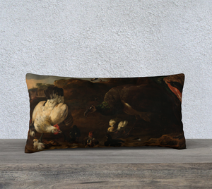 Peacock, Rooster & Rock Dove Pillowcase 24x12