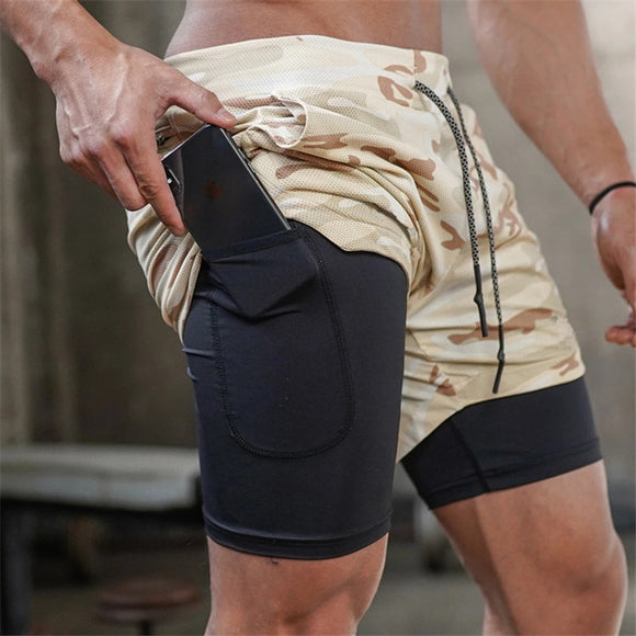 2 in 1 Men Running Track Shorts