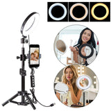 Phone Holder Tripod With Selfie LED Ring Light Studio Set