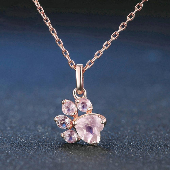 18K Paw Print Rose Gold Necklace