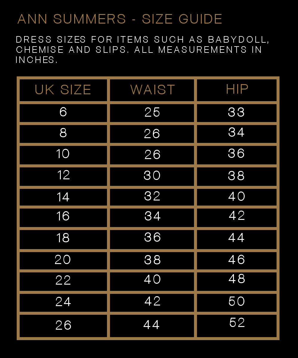 Ann Summers Size Guide