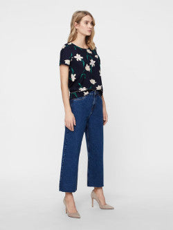 Vero Moda VmKathy Wide Cropped Jeans - Medium Blue