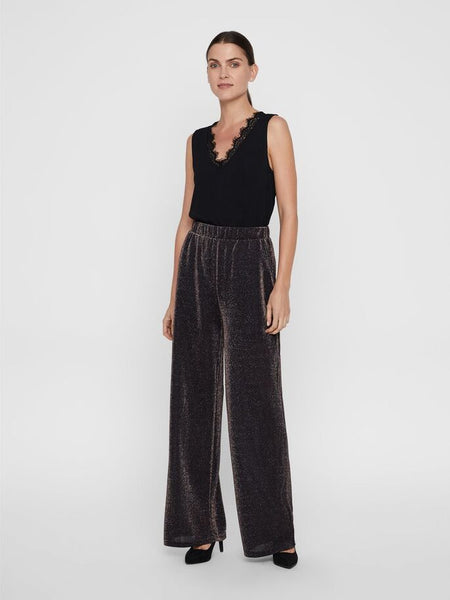Vero Moda Denise Coco High Wasted Pants - Coffee Metallic