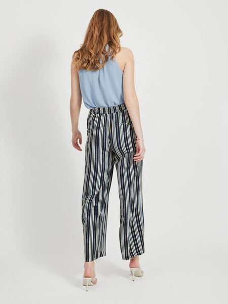 Vila Astratella Striped Wide Legged Trousers - Navy Blazer