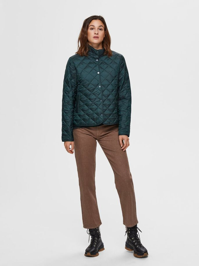 Selected Femme Plastic Change Quilted Jacket - Scarab
