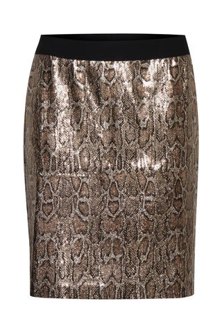 B Young Sequin Mini Skirt - Gold Animal