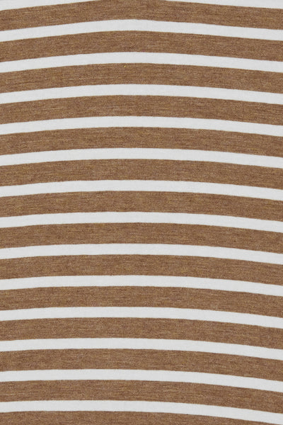 BYoung Pamila V-Neck T Shirt - Striped Almond Combo