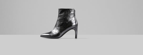Vagabond Whitney Metallic Leather Boots - Dark Silver
