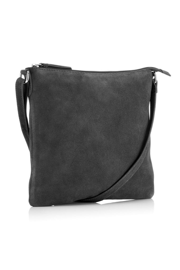 Large Suede Cross Body Bag - Grey