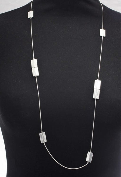Rectangular Plate Long Necklace - Silver