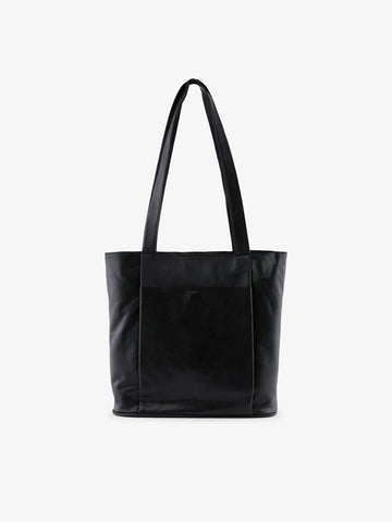 Pieces Leather Shopper - Black