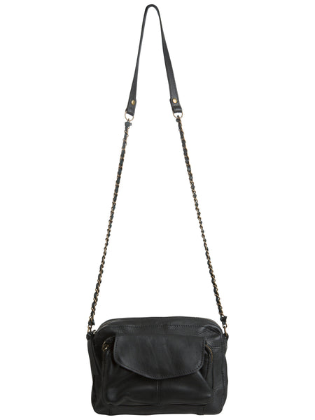 Pieces Leather Cross Over Bag - Black
