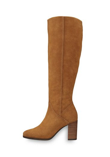 Tamaris Tan Leather Knee High Boot - Muscat