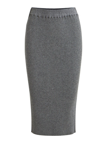 Vila Oliv Knitted Pencil Skirt - Medium Grey Melange
