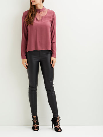 Vila Long Sleeved Lace Detail Top - Renaissance Rose