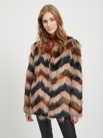Vila Lexia Faux Fur Coat - Toffee
