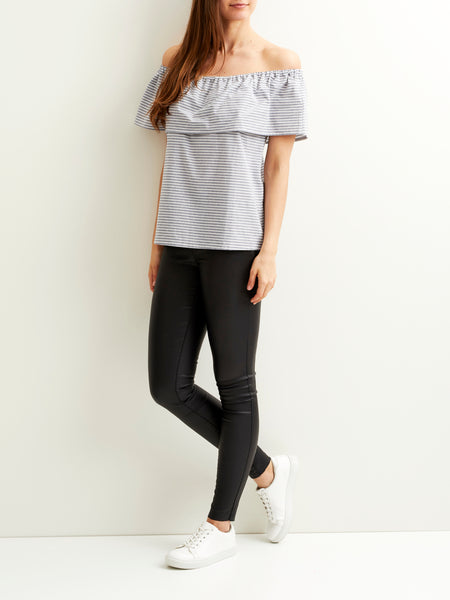 Vila Off-Shoulder Top - Grisaille Stripe