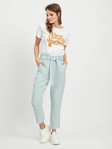 Vila Paper Bag Trousers - Blue Haze