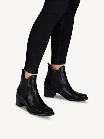 Tamaris Leather Chelsea Boots - Black