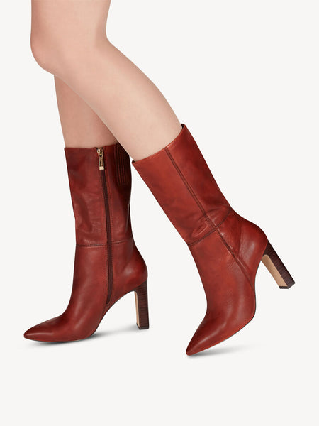 Tamaris Leather Boots - Cinnamon