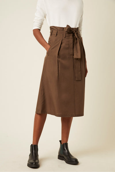 Great Plains Beau Belted Midi Skirt - Dark Olive