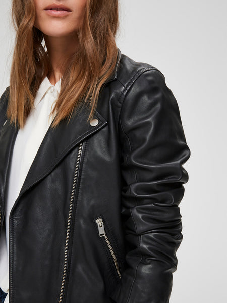Selected Femme Katie Leather Jacket - Black