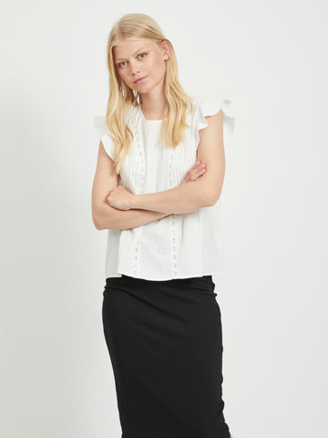 Vila Flippa Embroidered Cap Sleeve Top - Cloud Dancer