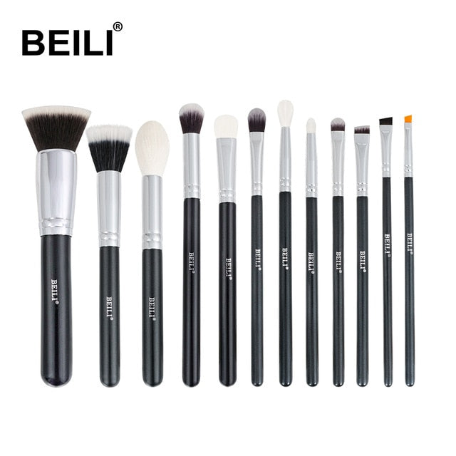 BEILI Black Complete Professional Natural goat hair Makeup Brushes set Foundation Powder Concealer Contour  Eyes Blending brush