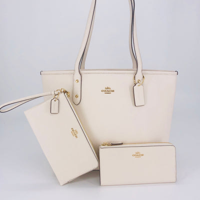 2PCS Coach City Zip Top Tote Wallet Wristlet Set